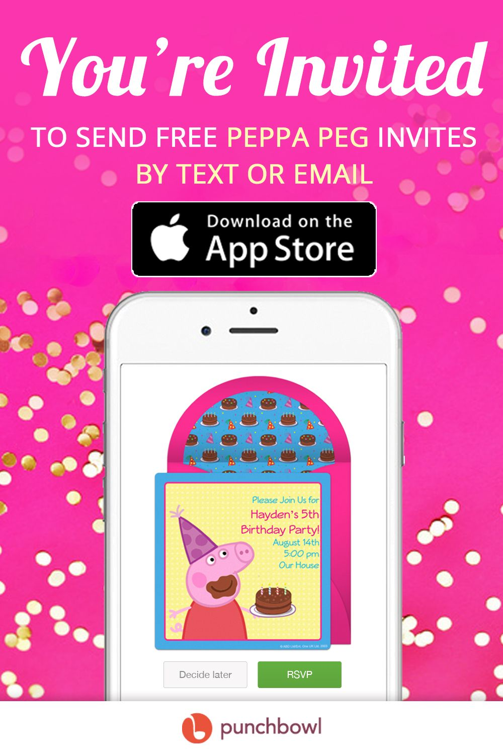 Send Free Peppa Pig Invitations By Text Message Right From Your Phone And Get RSVPs Instantly