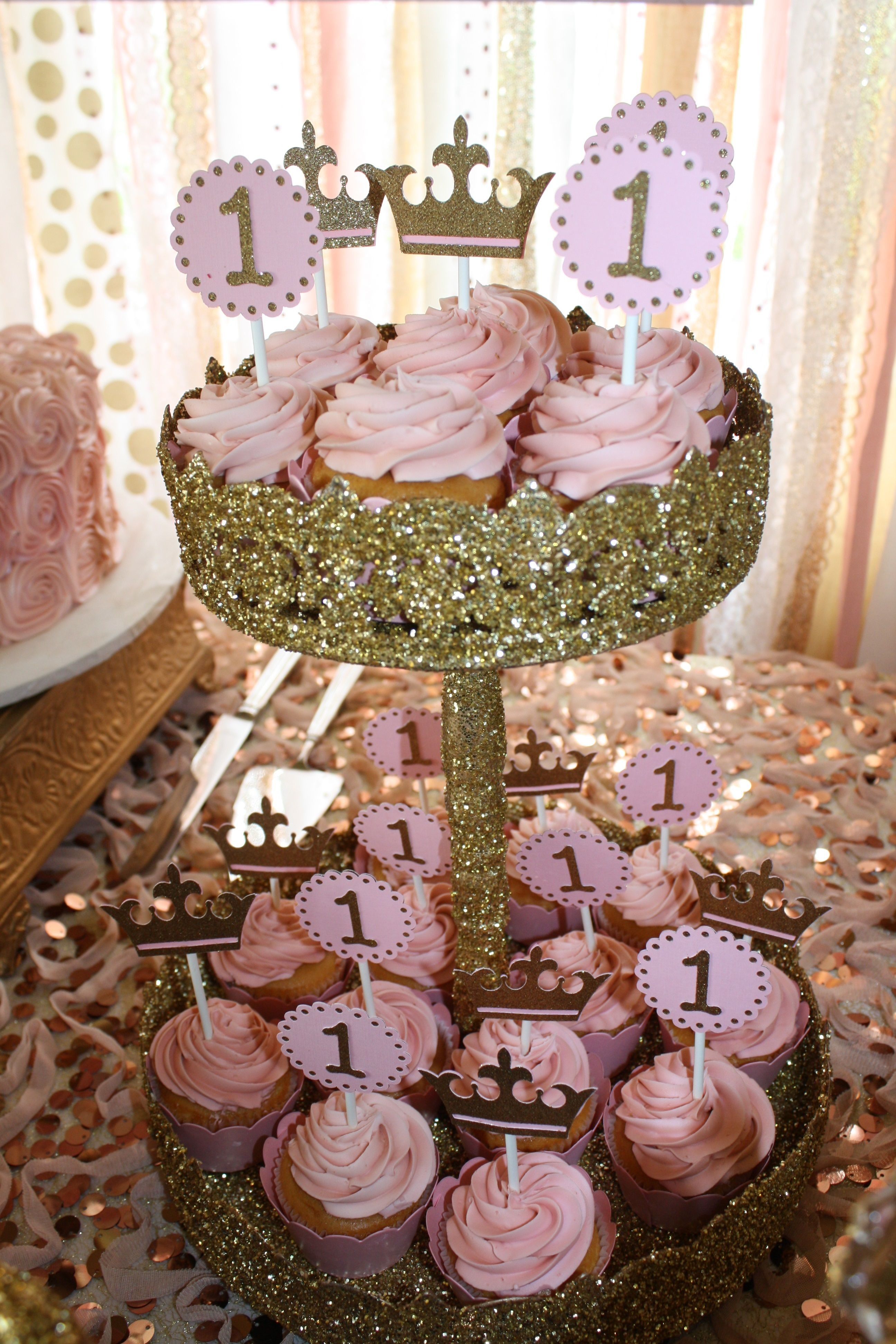 Pink Gold Princess Party Cupcakes By Bake My Day Katy TX