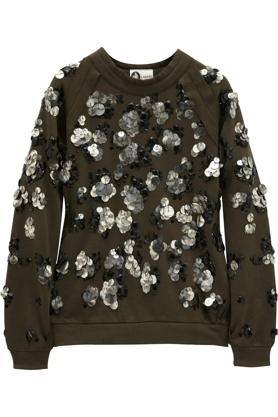 Embellished Opulence: we're taking 'more is more' as our fashion directive for fall. Lanvin - Embellished cotton-jersey sweatshirt