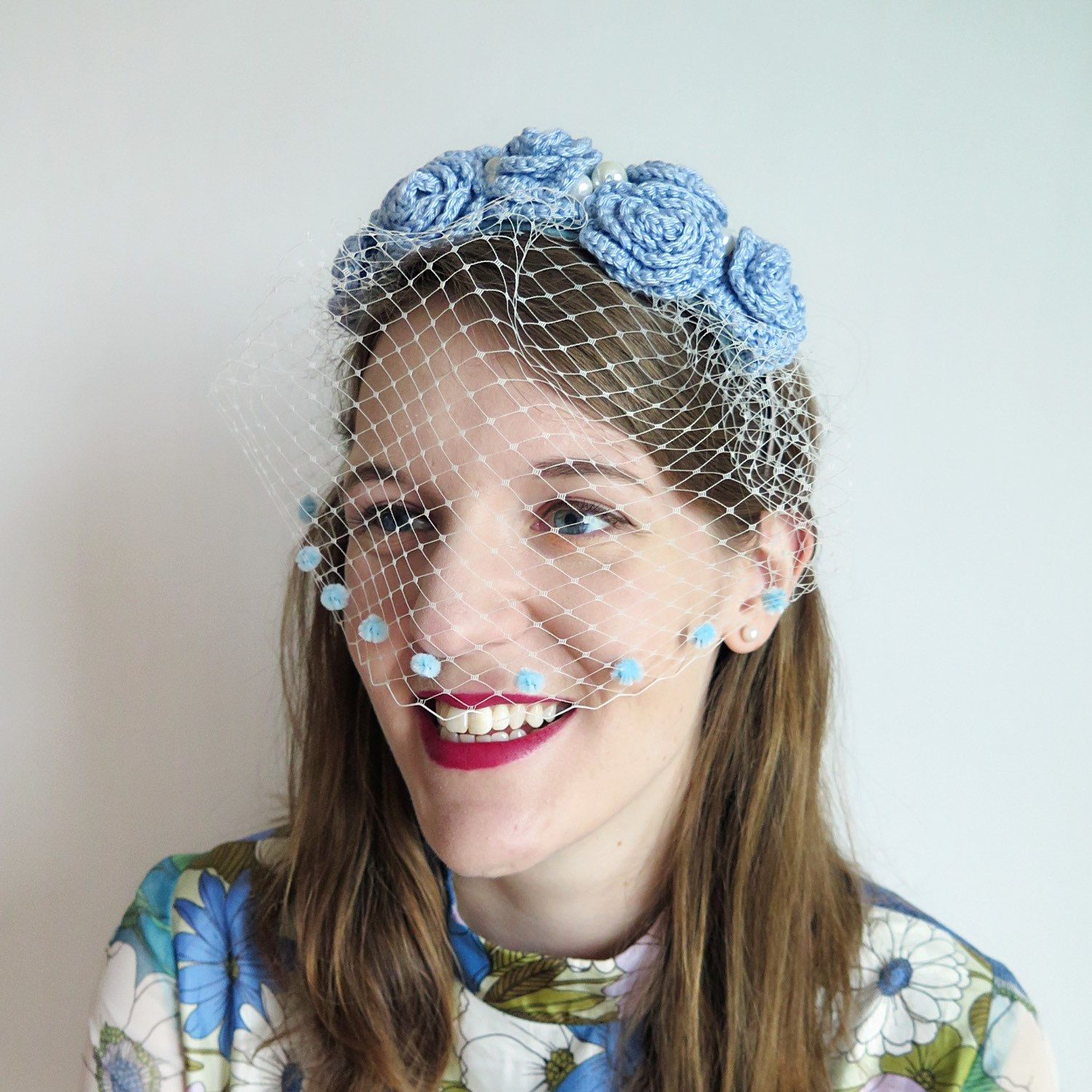 Blue birdcage veil blue bridal flower crown wedding headpiece have you seen this flower crown veil pearls and vintage vibes galore look out izmirmasajfo