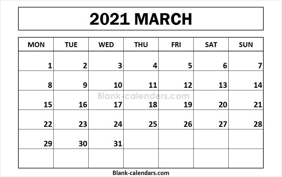 Printable March 2021 Calendar Monday Start September Calendar