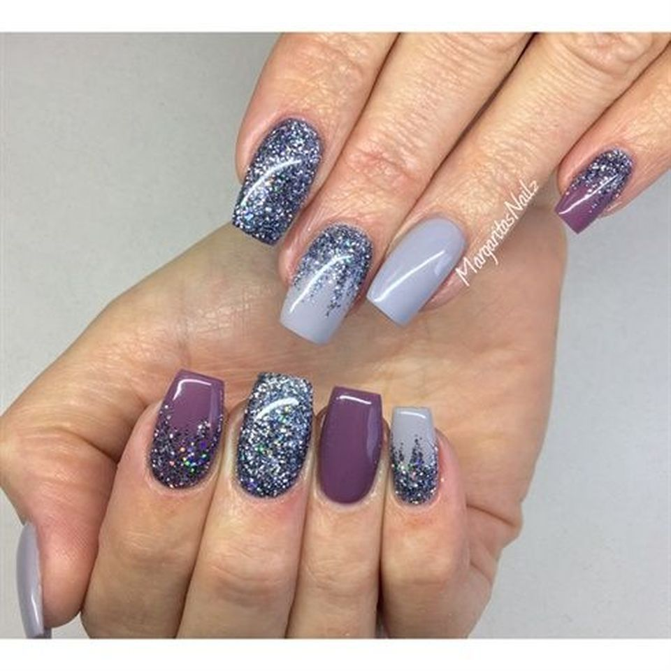 Cute gray ombre coffin shaped nails with glitter, stars