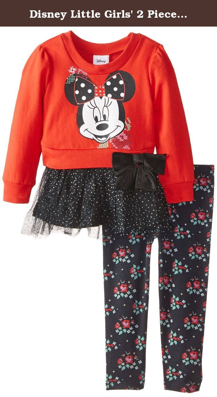 d2fc41ef3f594 Disney Little Girls' 2 Piece Minnie Mouse Sparkle Tulle Bow Legging Set,  Red, 6. 2 piece Minnie top with tacked on bow and glitter tulle and legging.