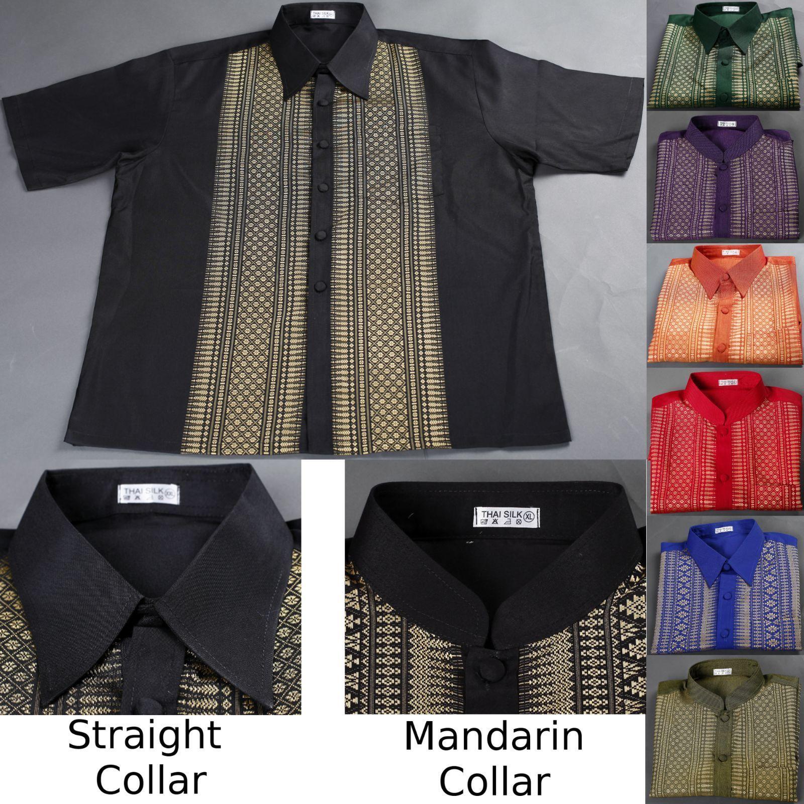 7e0859aed Traditional Thai Silk Mens Shirt/Short Sleeve/Straight Or Mandarin Band  Collar
