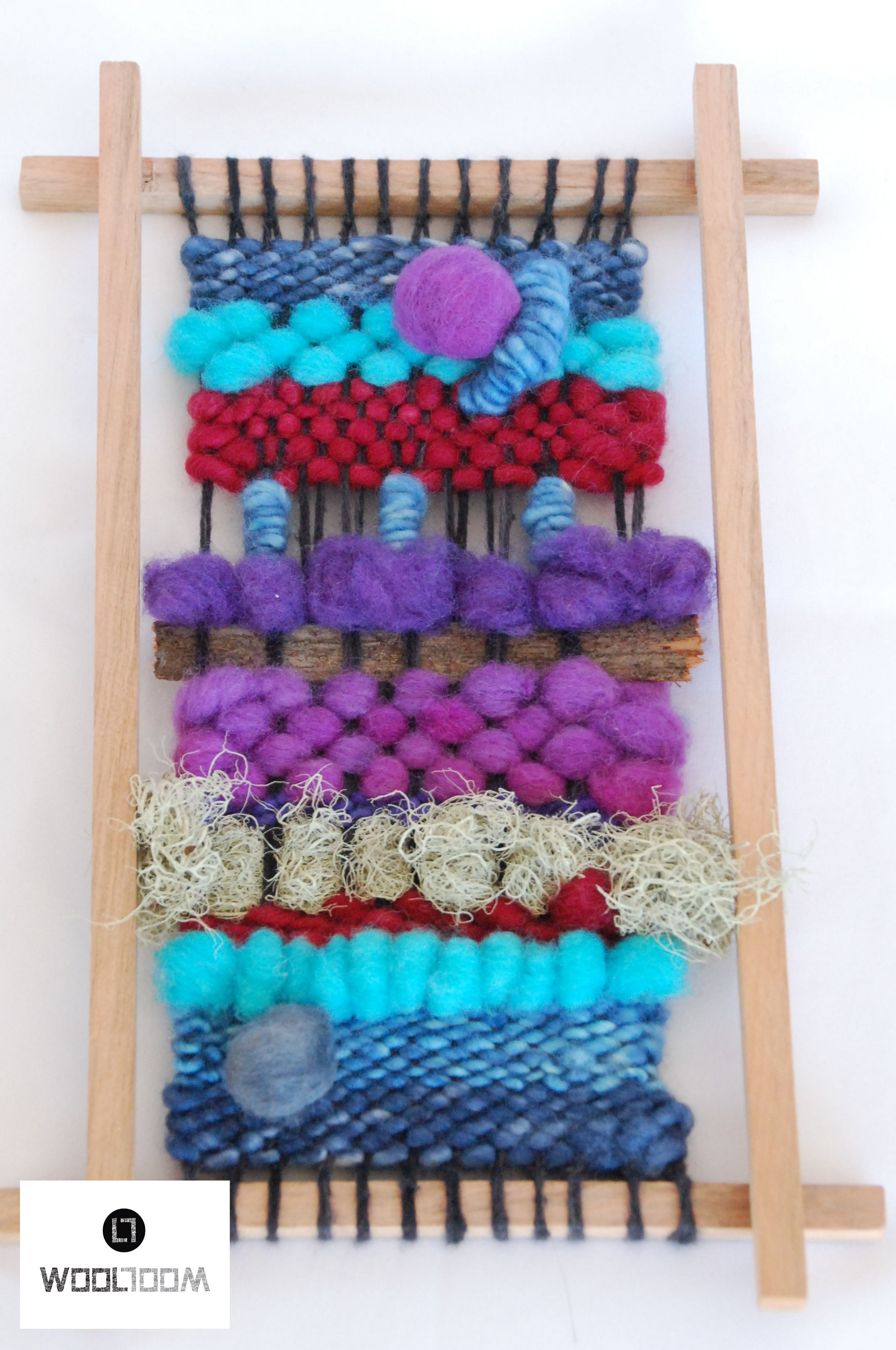Blue red purple Hand woven wall hanging // weaving