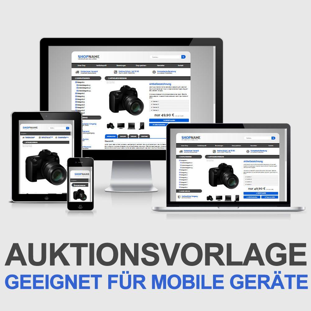 eBay Auktionsvorlage Web Blau Responsive Design HTML Template ...