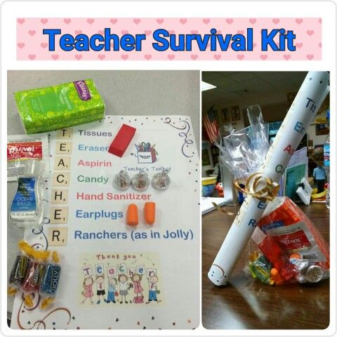 Teacher Survival Kit Tissues Eraser Aspirin Candy Hand