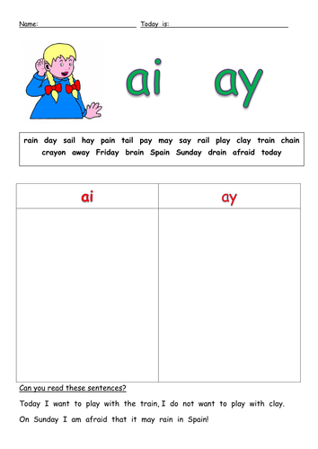 ai ay sort.docx | Teaching | Pinterest | Phonics, Worksheets and ...