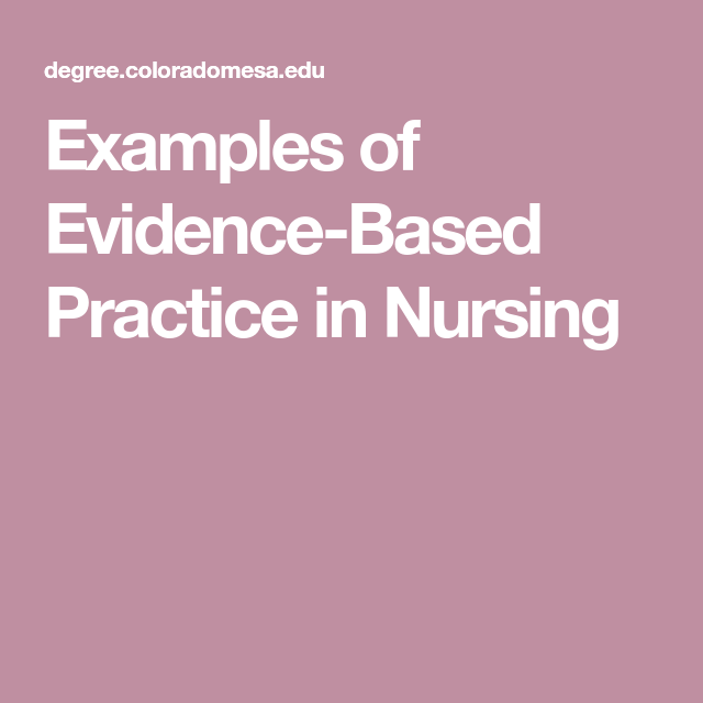 evidence based practice nursing examples