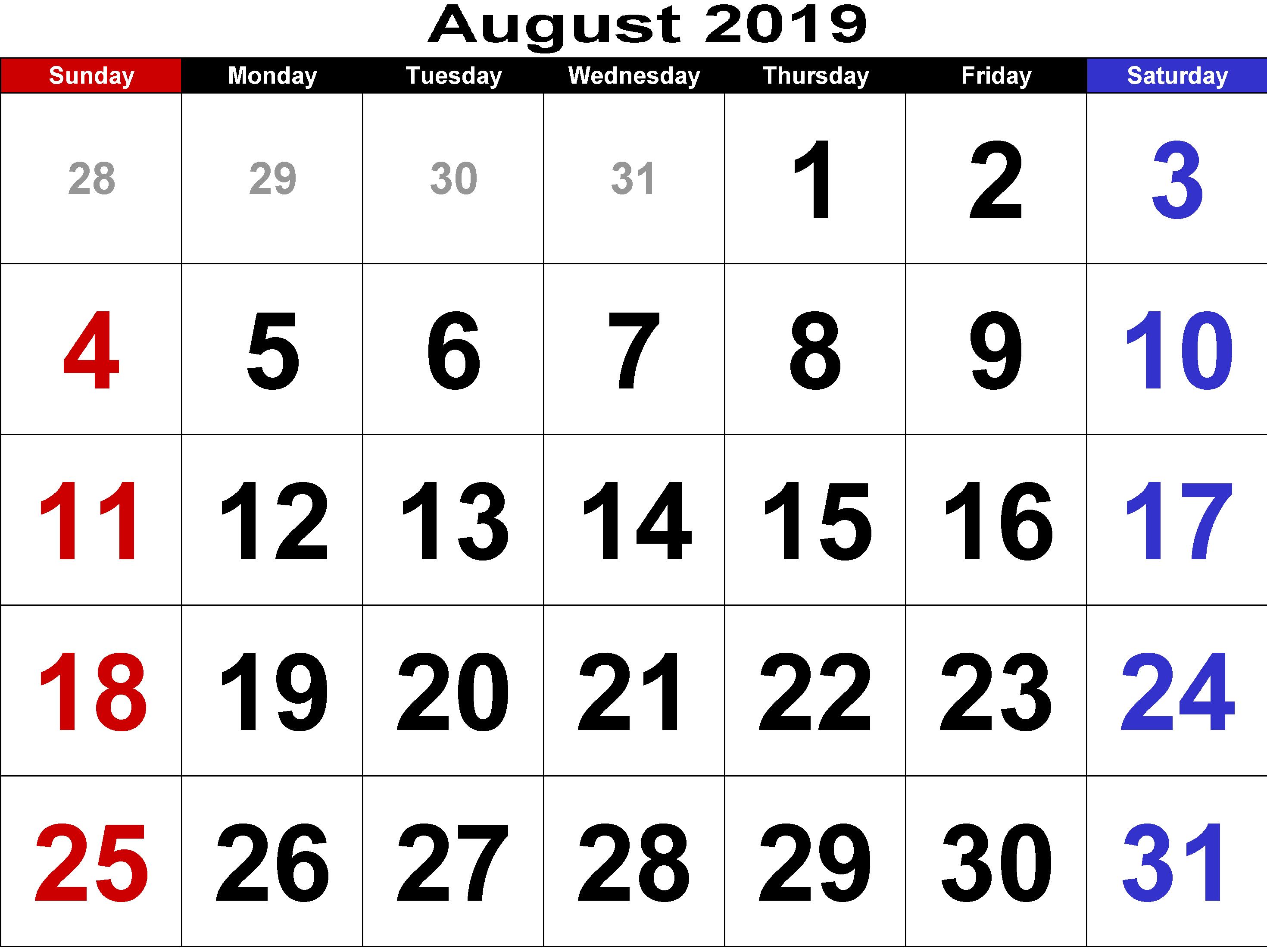 Agusut - December 2017 And 2019 Monthly Calendar Printable Free Printable August 2019 Calendar With Holidays #decorative