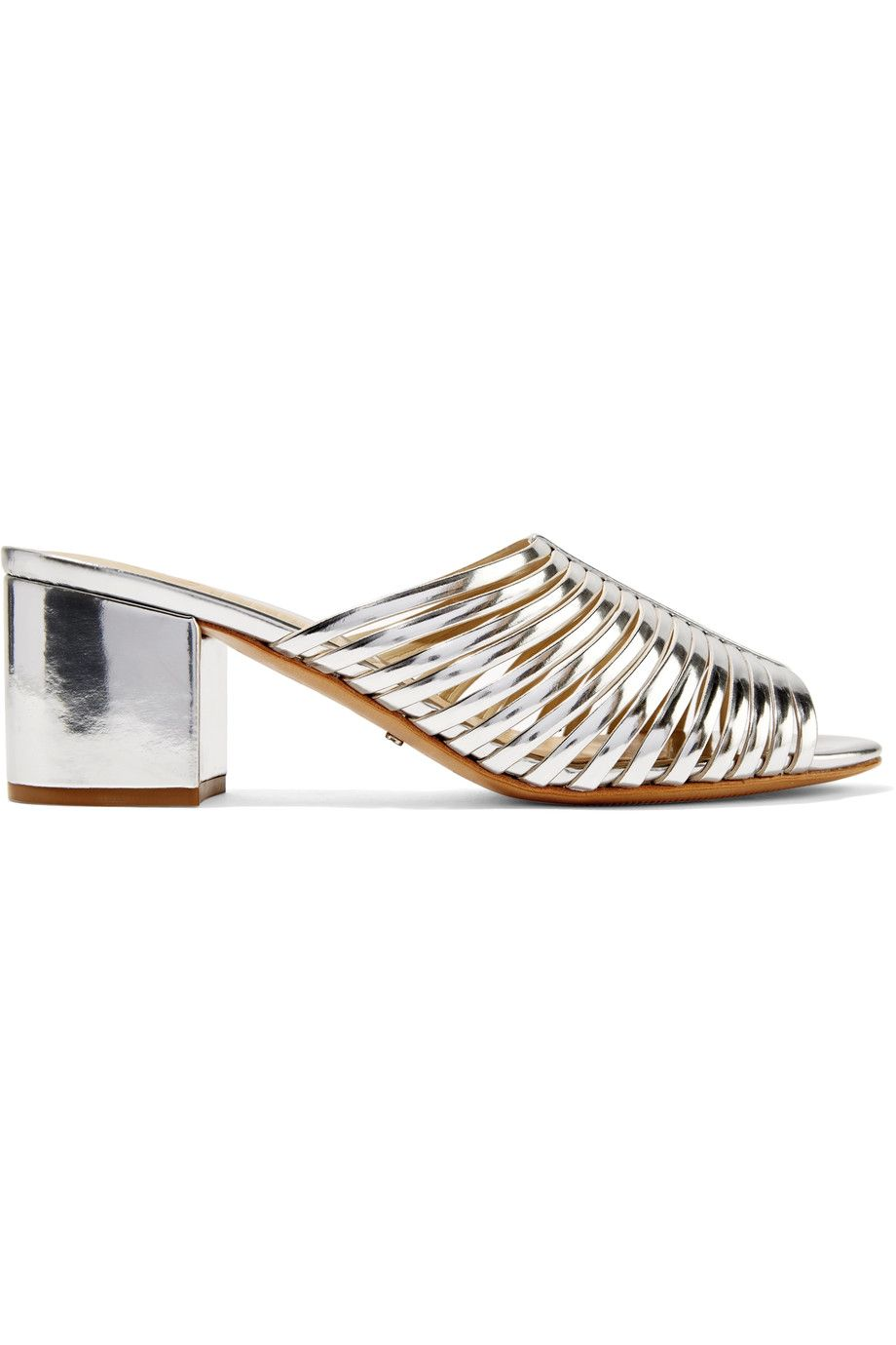 SCHUTZ Silver Cecilia cutout mirrored-leather mules - AVAILABLE HERE: http://rstyle.me/n/cpymwsbcukx