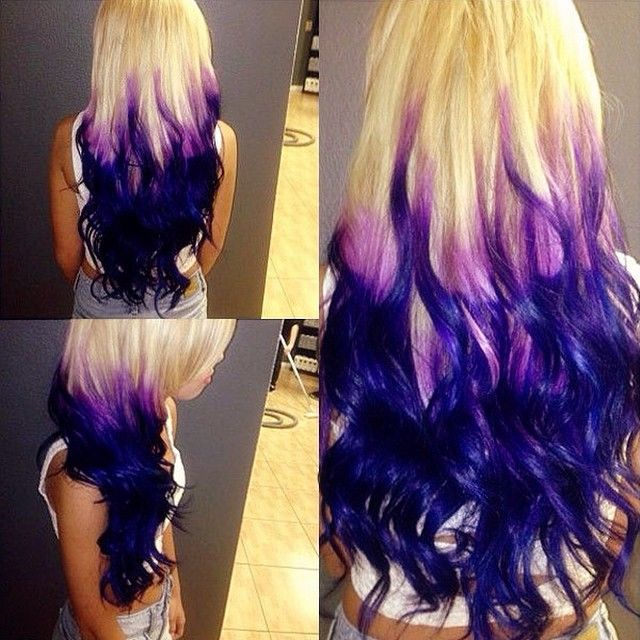 Purpepurple Ombre Hair Colors With Dyeable White Blonde Hair