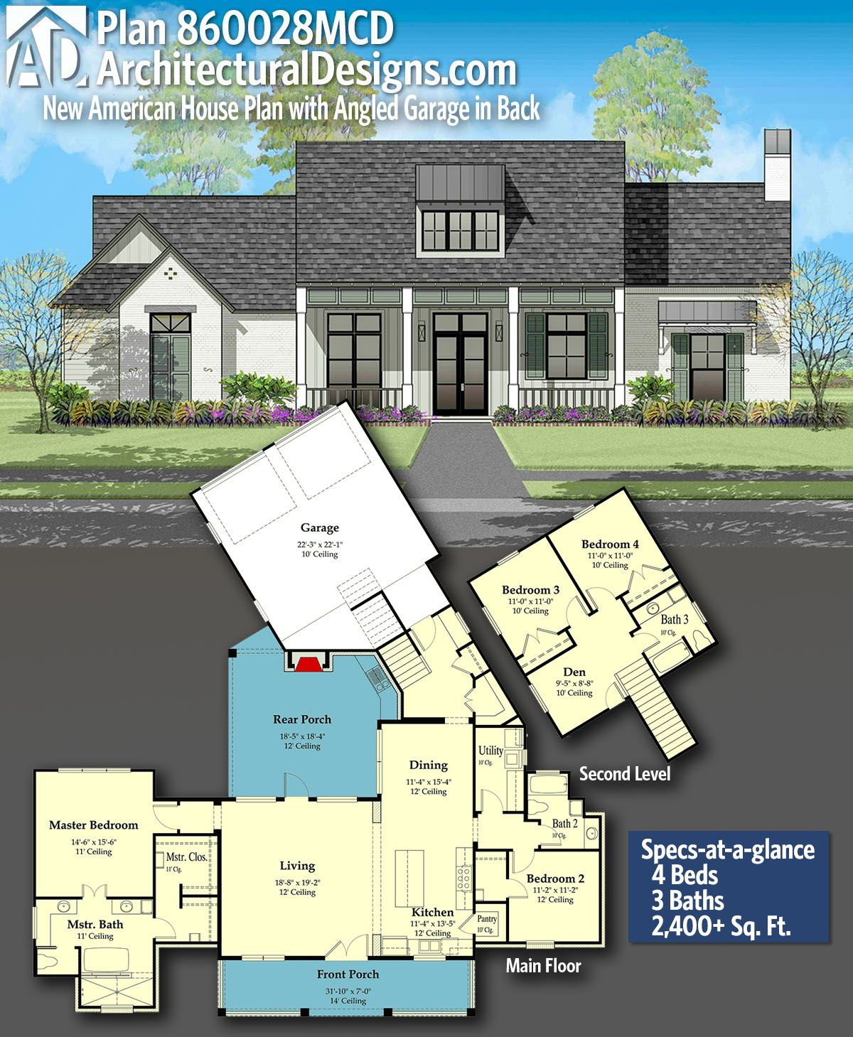 Architectural Designs New American House Plan 860028mcd Gives You 4 Bedrooms 3 Baths And 2 400 Sq Ft Ready W Garage House Plans American Houses House Plans