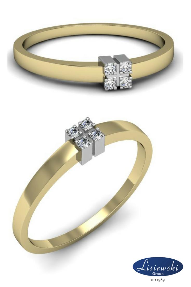 Złoty Pierścionek Z Czterema Brylantami Gold Ring With Diamonds