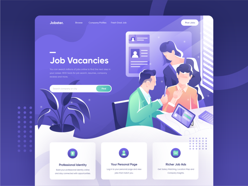 Jobster Search Millions Of Jobs Online Website Concept Di 2020 Referensi Desain Desain