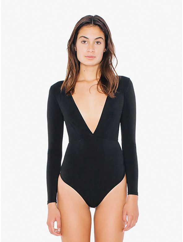 This cotton spandex long sleeve bodysuit has a deep V front and back ... 998905cca