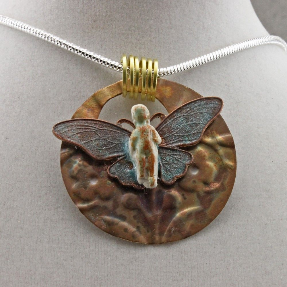 Frozen Charlotte Butterfly Necklace by oscarcrow on Etsy, $24.00