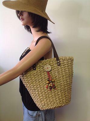 Coldwater Creek Corn Husk Tote Bag Wooden Beads Designer Fashion Stylish | eBay  Browse & Shop at : WWW.STORES.EBAY.COM/CALIFORNIAUNIQUEBOUTIQUE