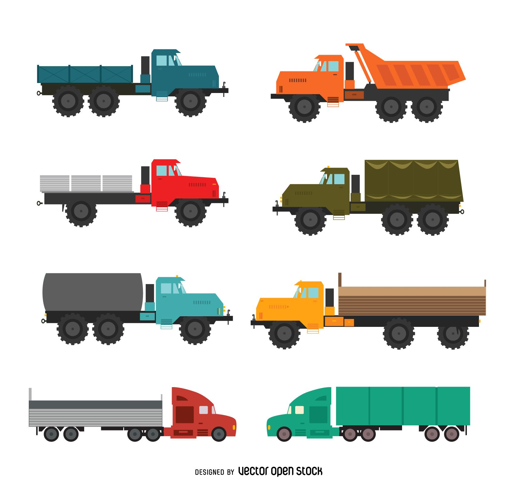 Set of flat isolated truck illustrations featuring different types of vehicles. Trucks were designed using realistic colors.