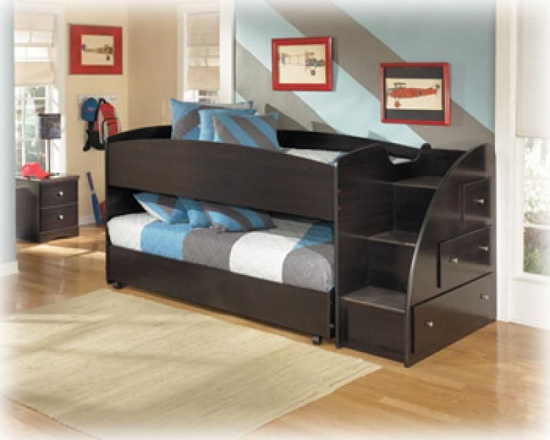 Ashley Furniture Right Storage Step W Loft Ends Item B23913r Twin Bed Kids Beds