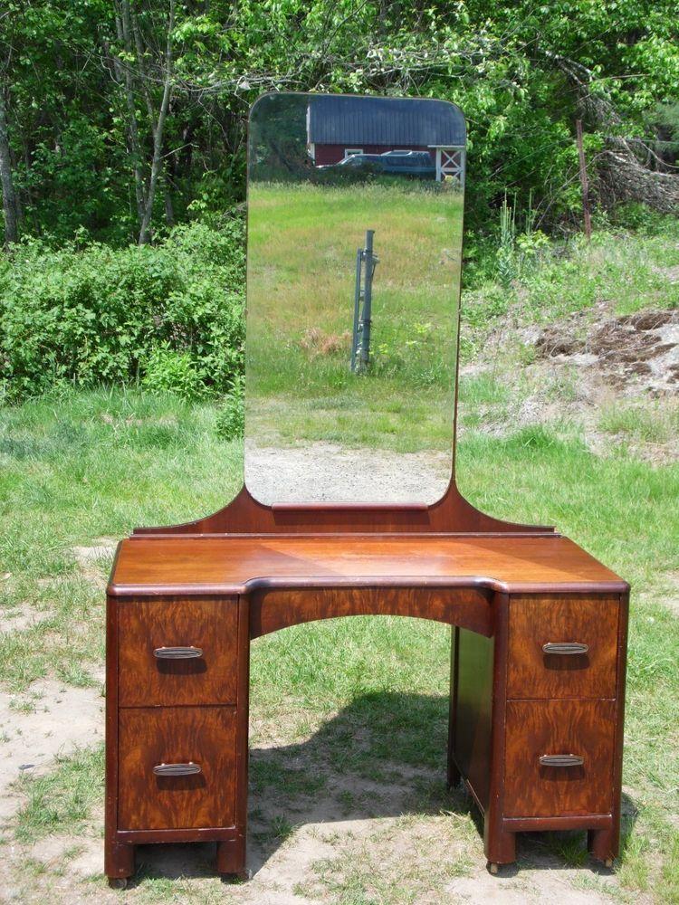 Superb Antique Art Deco Mahogany Vanity Bedroom Dressing Table w/ Mirror  Set #ArtDeco - Superb Antique Art Deco Mahogany Vanity Bedroom Dressing Table W