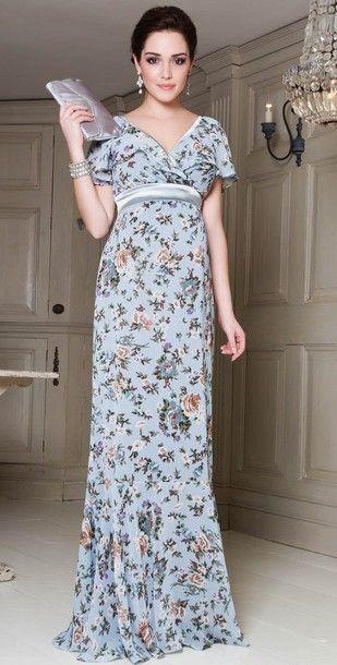 dress long dress floral pattern empire waist v neck short sleeve cap ...