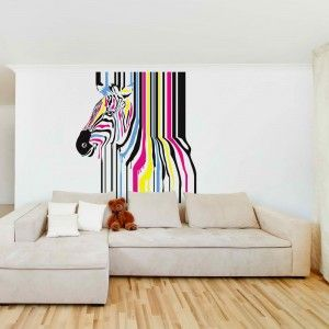 This Cool Wall Decal Design Is Of A Zebra With Stunningly Coloured Stripes  And The Paint