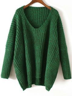 dfd1e99356d Chunky Knitted Sweater Green V Neck Fall Winter Sweater. A cool sweater to  wear out in the winter. Oversized heavy knit sweater. Sleeve Length(cm)   67cm ...