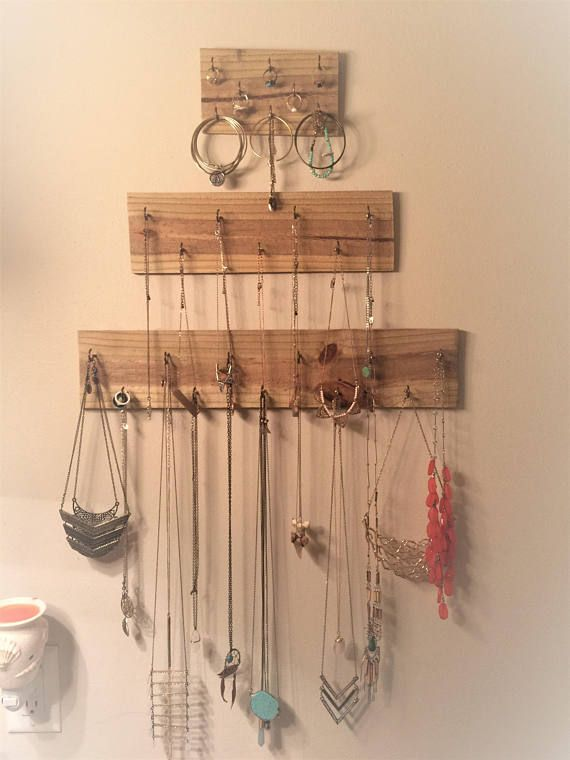 Set of 3 FREE SHIPPING Wood wall hanging jewelry organizer boho
