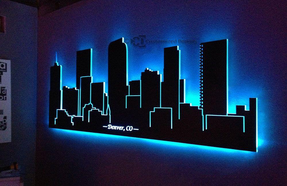 Led Lighted Denver Skyline Wall Art Osveshenie Sten Derevyannyj
