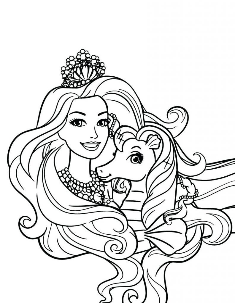 Barbie Princess Coloring Pages Mermaid Coloring Pages Barbie