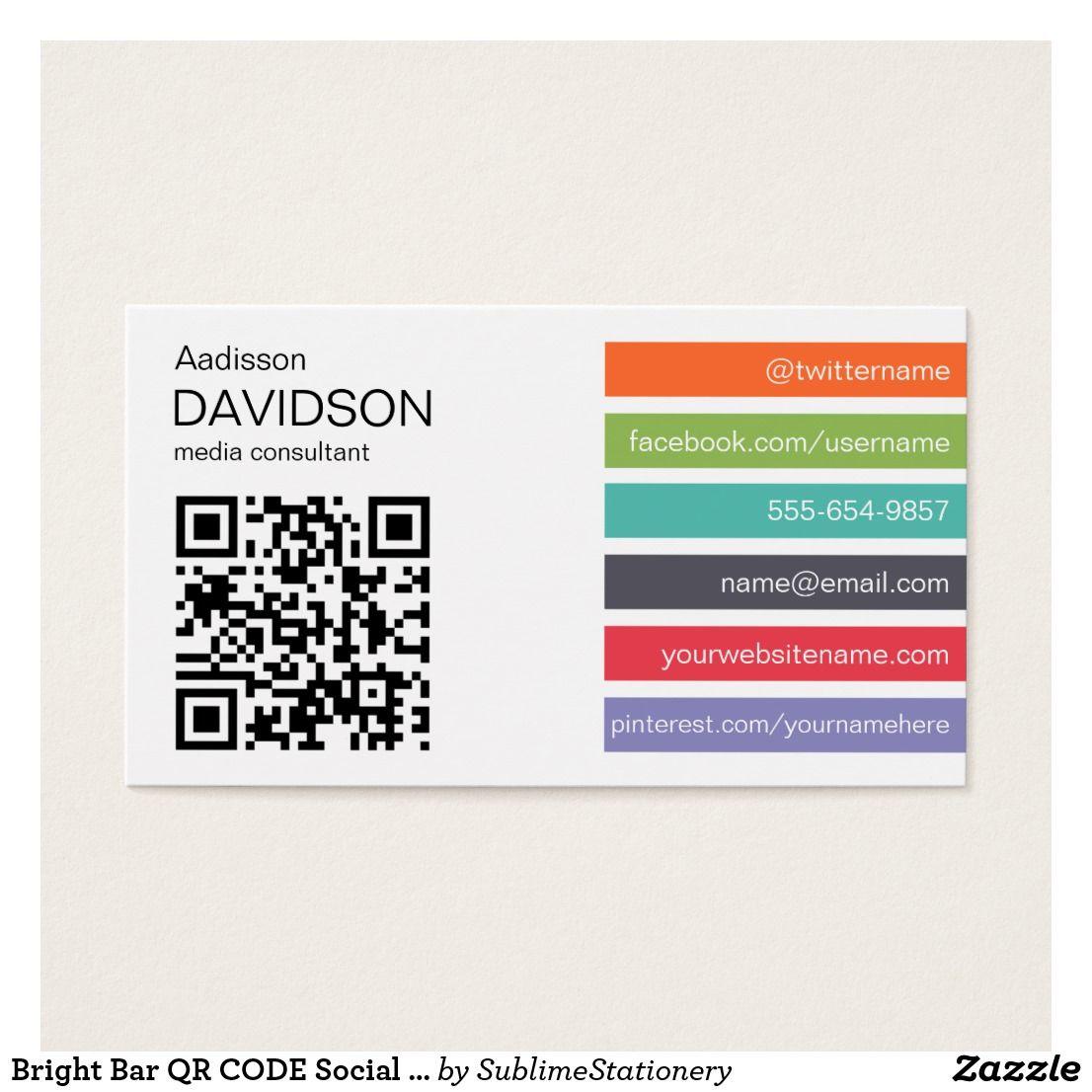 Bright bar qr code social media business card cards business bright bar qr code social media business card colourmoves