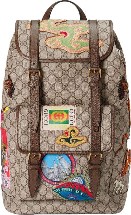 801a101e4b9 Gucci Courrier Soft Backpack Monogram GG Embroidered UFO  dragon  clouds  and bee Beige Ebony Multicolor