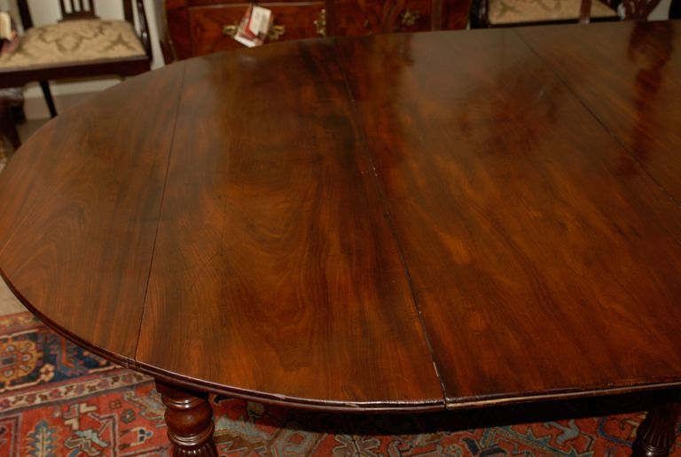 19th Century French Mahogany Dining Table With Turned Legs From