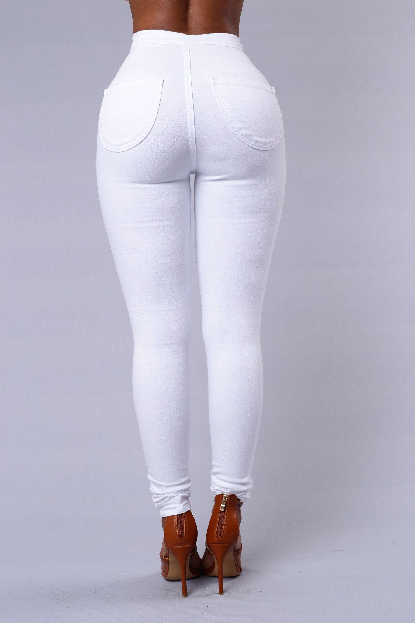 Super High Waist Denim Skinnies White Girrrrrrrrrr