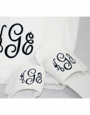 embroidered personalized slippers with monogram or initial