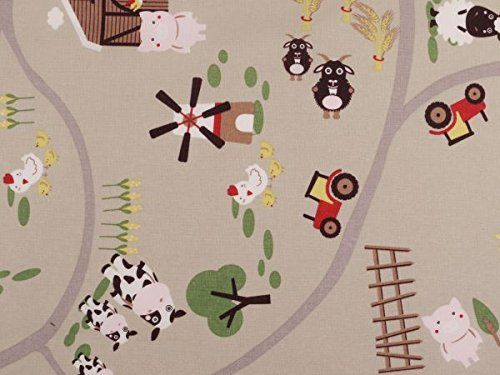 Kinderstoff mit Bauernhof Motiv aus leichter