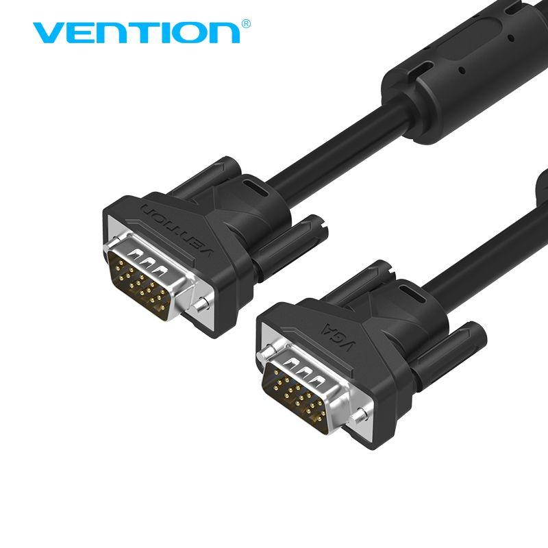 Kabel Vga Do Vga Meski Na Meski Czarny Pleciony Vention Ekranowanie Wysokiej Premium Hdtv Vga Cabo Drut Okragly Pc Laptop Hdtv Cable