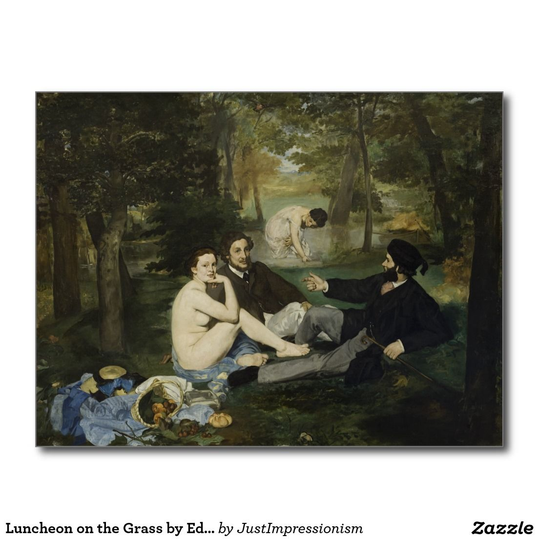 Luncheon on the Grass by Edouard Manet Postcard