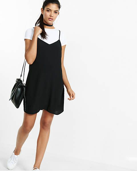 416477a907c6 90's outfit | white tee + black slip dress | 90s Fashion Trends ...