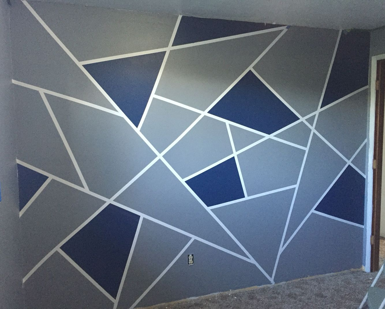 Geometric wall design for my teenage son. He LOVES it ...