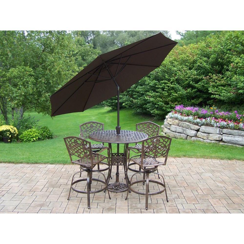 Patio Bar Set With Umbrella Piece Merit 7piece Outdoor Bar Height