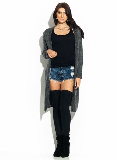 Sexy casual fall outfit with thigh high socks