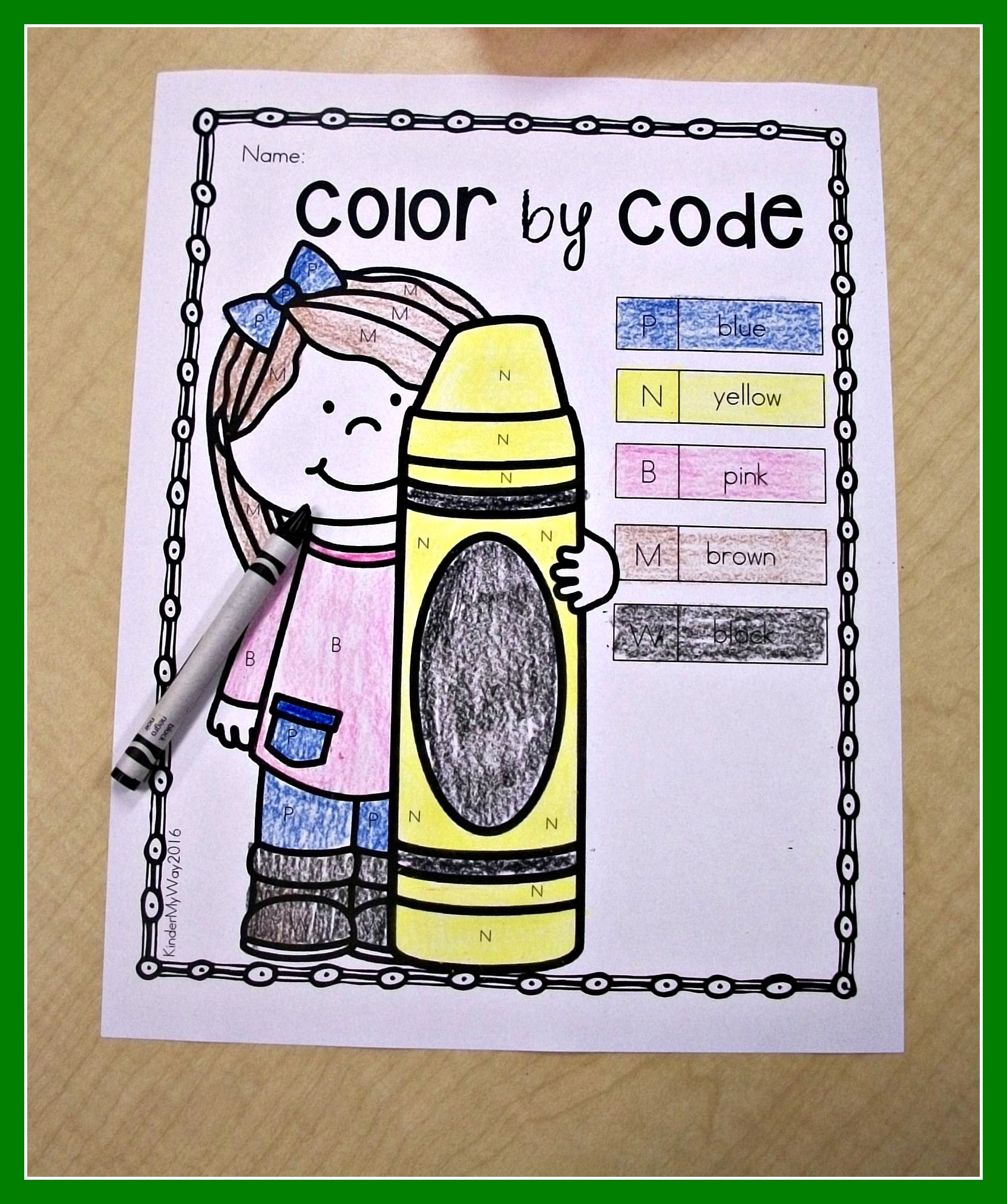 Color By Code Kindergarten