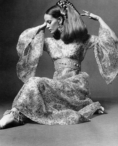 Celia Hammond in exotic evening dress in printed and embroidered tulle by Savita, photo by John Patrick, Dec. 1968
