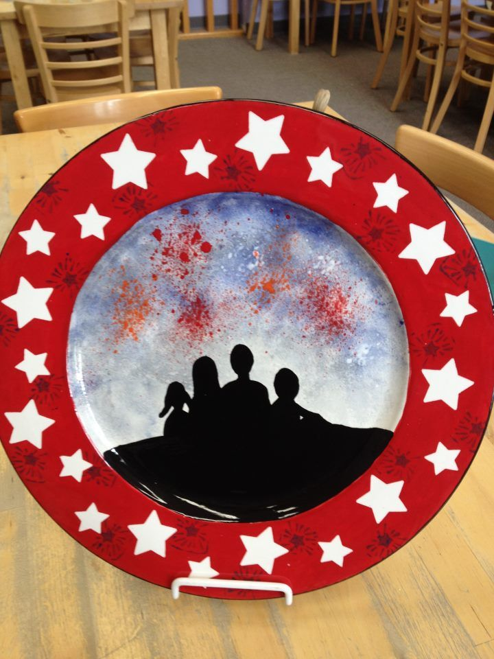 4th of July family fireworks - hand painted ceramic plate & 4th of July family fireworks - hand painted ceramic plate | Pottery ...