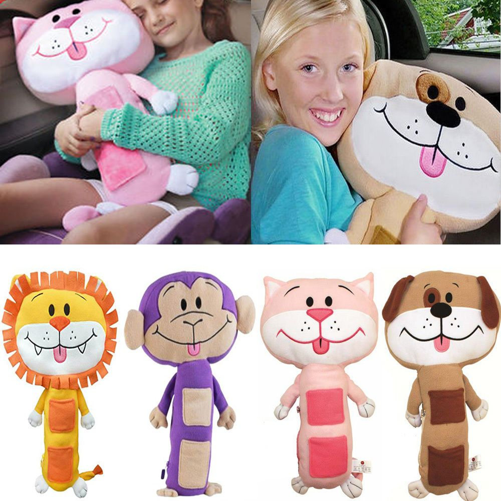 Kids Seat Belt Cover Children Soft Pet Pillow Car Animal Seatbelt Cushion Kids Seating Animal Pillows Seat Belt Cover