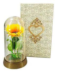 Luminária A Bela E A Fera Com Girassol E Caixa De Madeira G - Ouro-Envelhecido - Girassol
