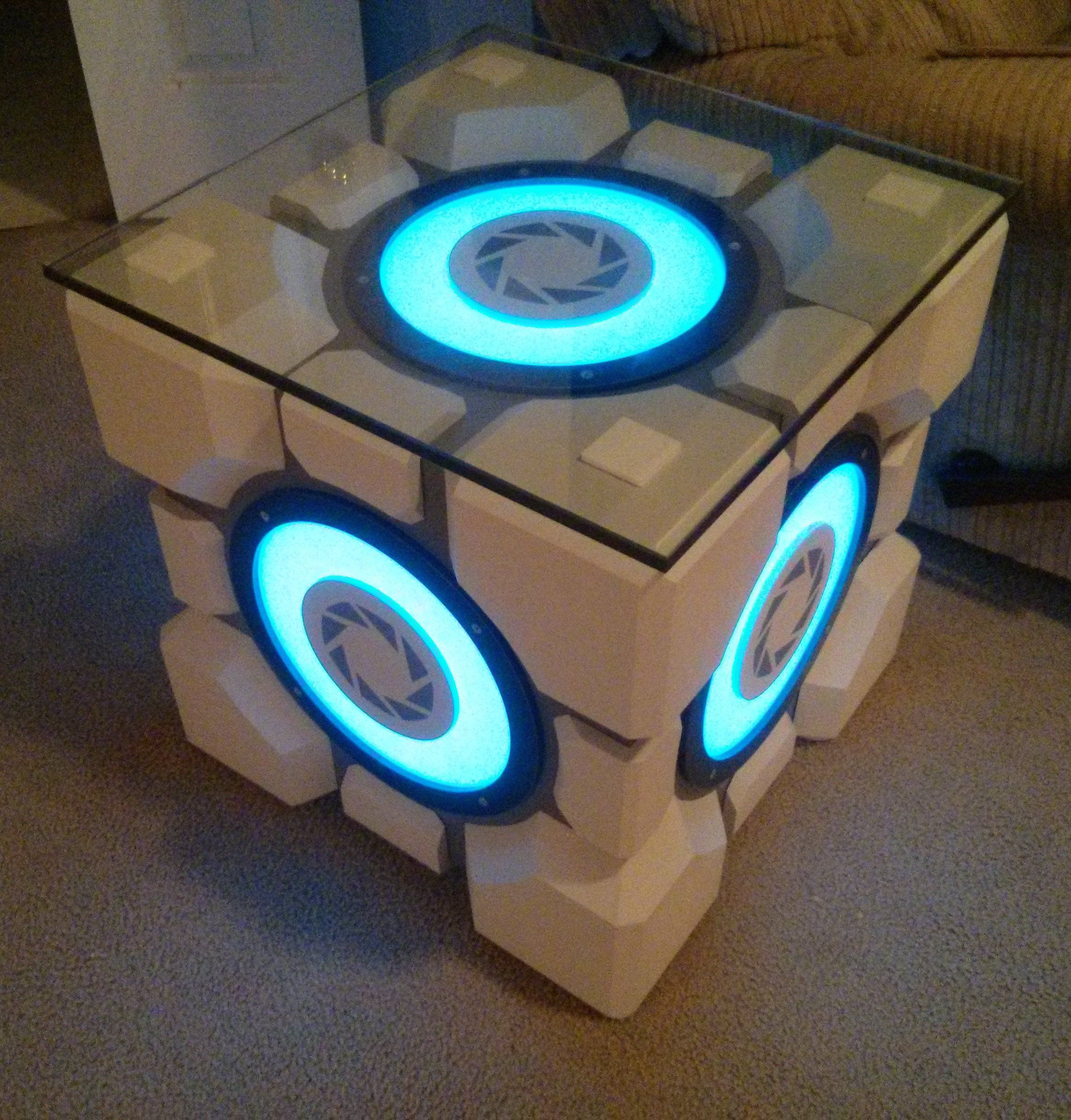 Build Your Own Coffee Table With Storage: This 'Portal' Fan Built An Amazing Weighted Storage Cube