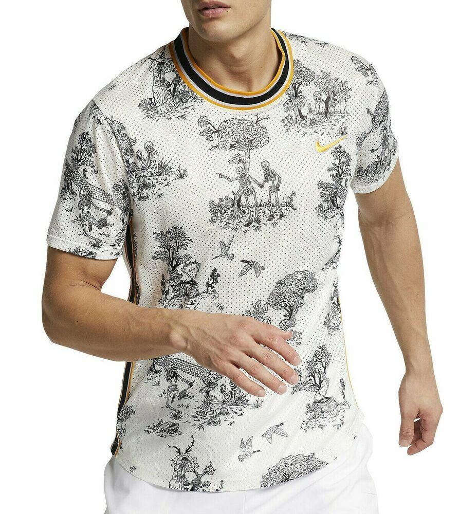 Nike Court Dri Fit Challenger Graphic Crew Tennis Shirt Mens Xs Sail Ao0291 133 Nike Activewearshortsleeve Tennis Shirts Mens Shirts Shirts